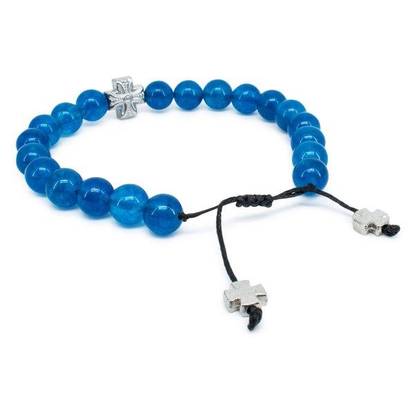 Feines blaues Jadestein orthodox Armband