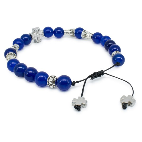 Dark Blue Jade Stone Prayer Bracelet