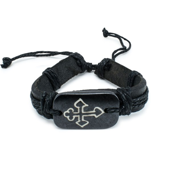 Dark Brown Leather Prayer Bracelet-0