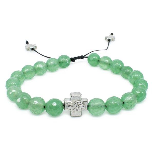 Facetted Green Jadeite Stone Prayer Bracelet-0