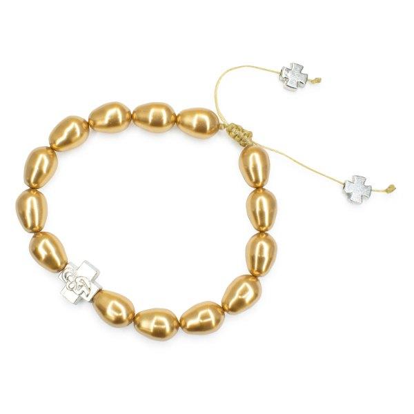 Gold Swarovski Teardrop Pearl Prayer Bracelet-504