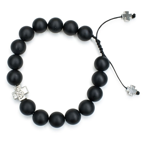 Striking Matte Onyx Stone Prayer Bracelet