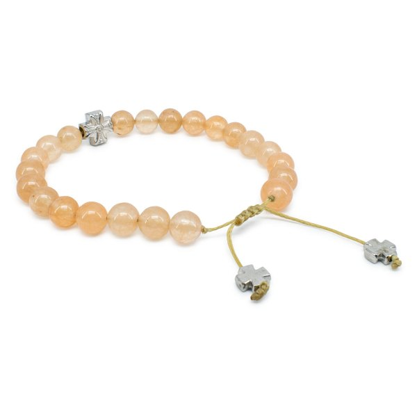 Orange Candy Jade Stone Prayer Bracelet