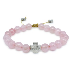 Rose Quartz Stone Prayer Bracelet-0