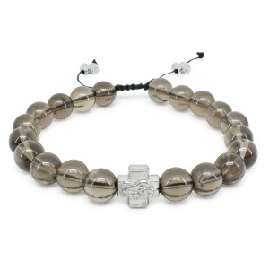 Smoky Quartz Stone Prayer Bracelet-0