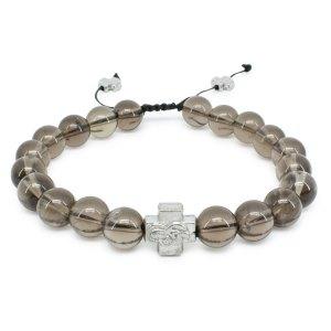 Smoky Quartz Stone Prayer Bracelet-0