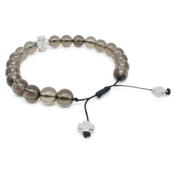Elegant Smoky Quartz Stone Prayer Bracelet