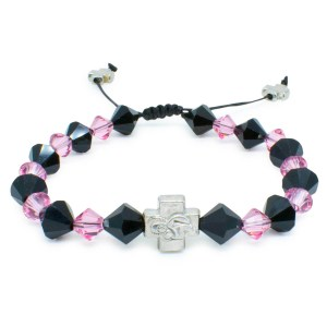 "Swarovski Crystal Prayer Bracelet ""Black Velvet""-0"