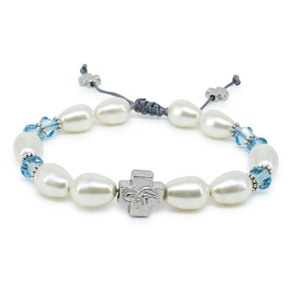 "Swarovski Pearl and Crystal Prayer Bracelet ""Sophie""-0"