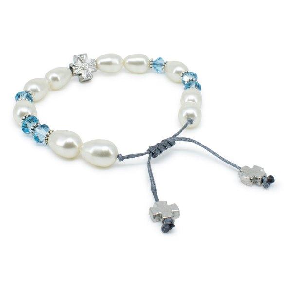 "Fine Swarovski Pearl and Crystal Prayer Bracelet ""Sophie"""
