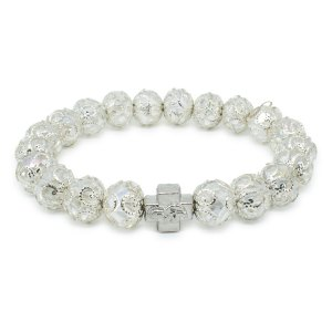 "White Glass Prayer Bracelet ""Delila""-0"