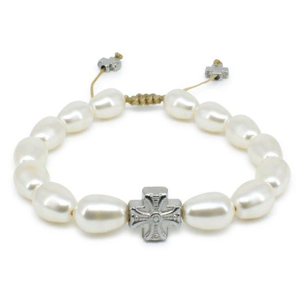 Schönes weiße Swarovski Perlen orthodox Armband (Tropfenförmige Perlen)