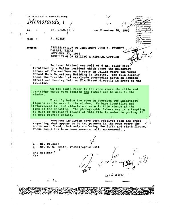 FBI Memo Rosen to Belmont Nov 28th 1963