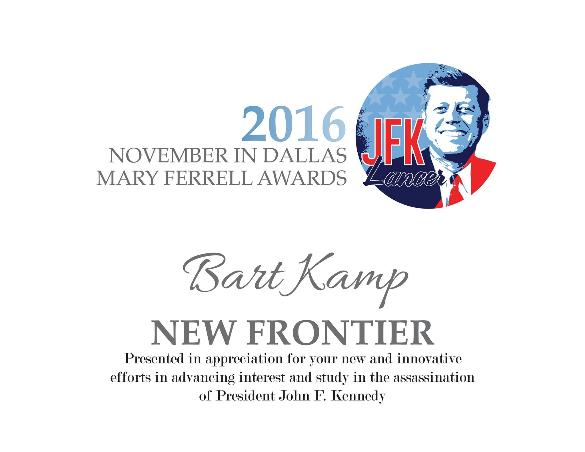 The Despicable Dick Gilbride Bart-Kamp-JFK-Lancer-New-Frontier-Award-2016