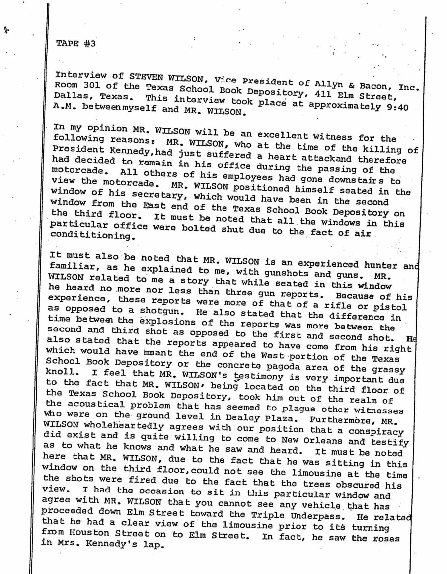 Preliminary interview with Steven Wilson for the Garrison trial. Thanks to Malcolm Blunt. Click to enlarge.