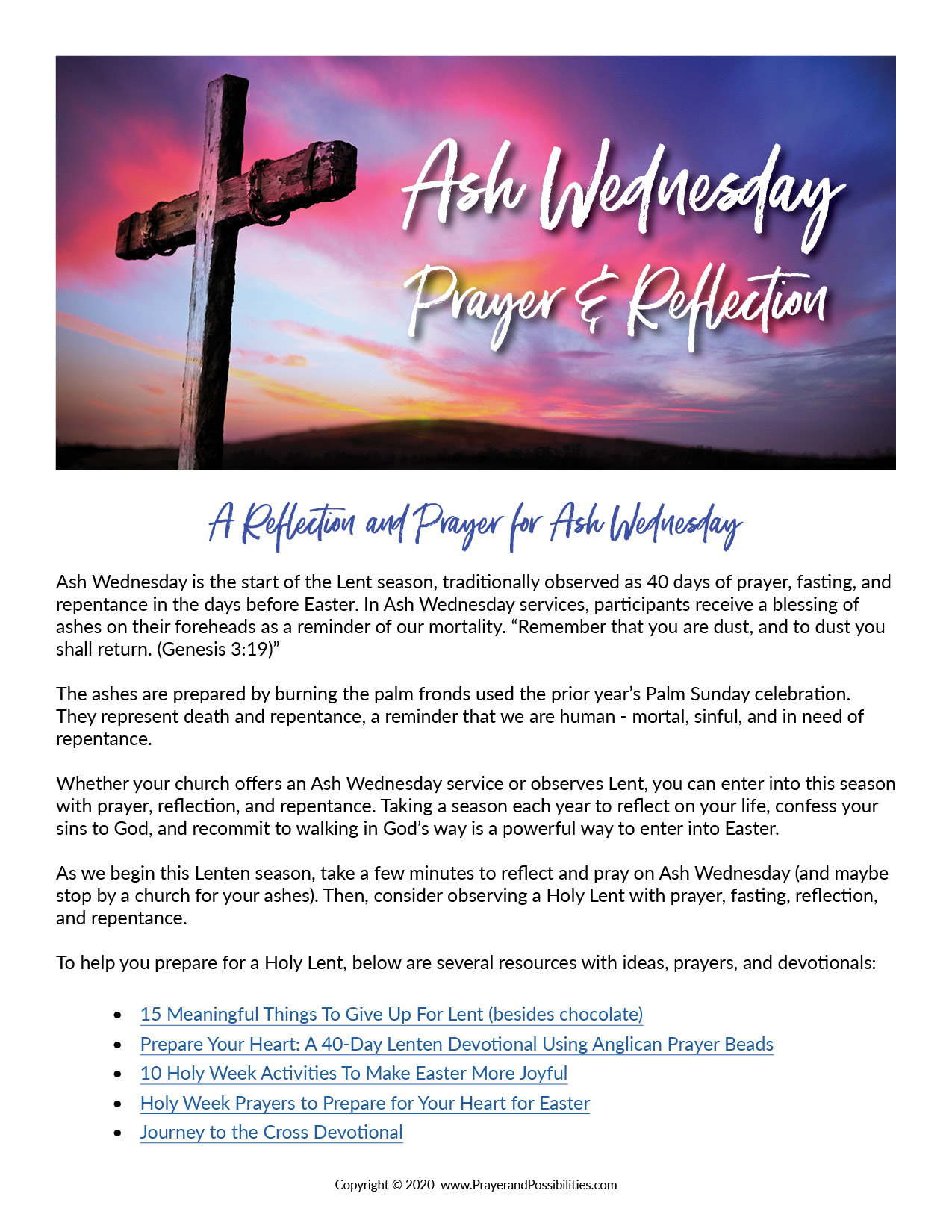 Ash Wednesday prayer & reflection free printable