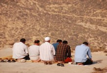 Some people are performing congregational prayer.