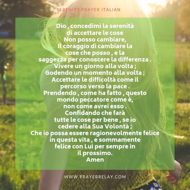 the SERENITY PRAYER ITALIAN