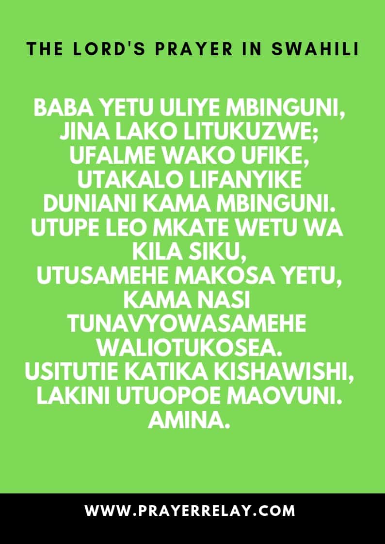 THE LORD'S PRAYER IN SWAHILI