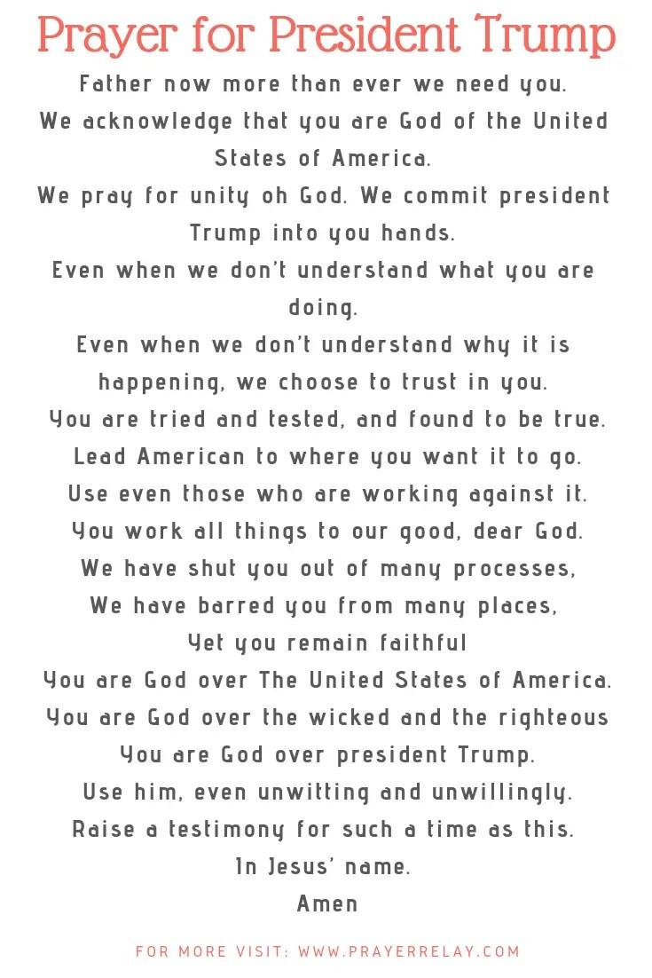 Prayer for President Trump
