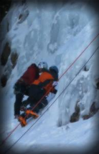 Ashley and Mark Ice Climbing