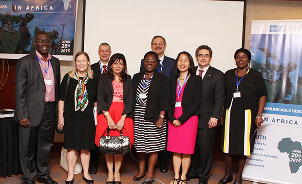 Front row (from left to right): David Githanga, chairman of the Kenya Paediatric Association; Susan Rich, vice president, International Programs, PRB; Kirtida Acharya, honorary lecturer, University of Nairobi; Josephine Kibaru-Mbae, director general, National Council for Population and Development; Toshiko Kaneda, senior research associate, International Programs, PRB; Jonathan Klein, executive director, NCD Child, and associate executive director, American Academy of Pediatrics; and Angeline Siparo, senior consultant, PRB. Back row: Avi Joseph, relationship manager, Vitality Schools Program, South Africa; and David Smith, executive vice president, operations, AstraZeneca.