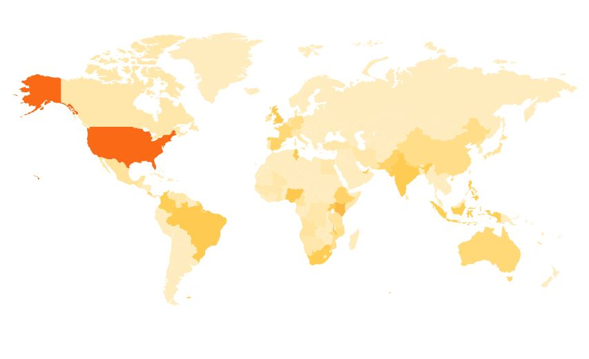 This global heat map shows PRB's social media mentions over the past twelve months.