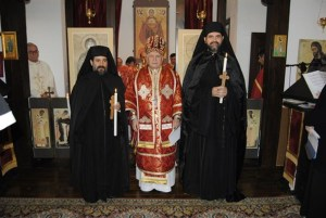 father Atanasie and Isaac with Bishop Alexandru_x950