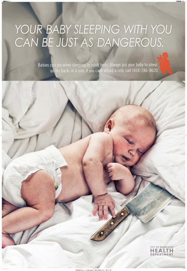 Baby Sleeps with Knive - Milwaukee Launches Controversial Ad Campaign