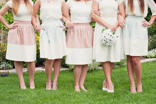 Color block Party Skirt Bridesmaids shoot