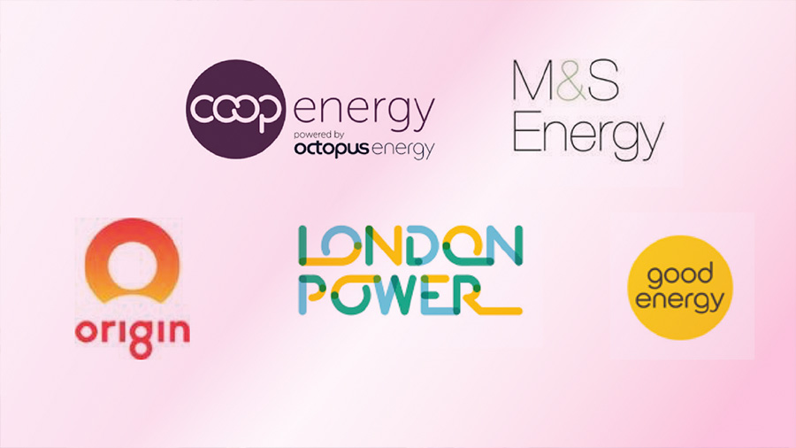 COOP Energy, M&S Energy, Origin, London Power & Good Energy logo's