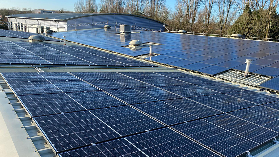 Solar panels on top of Precision's roof