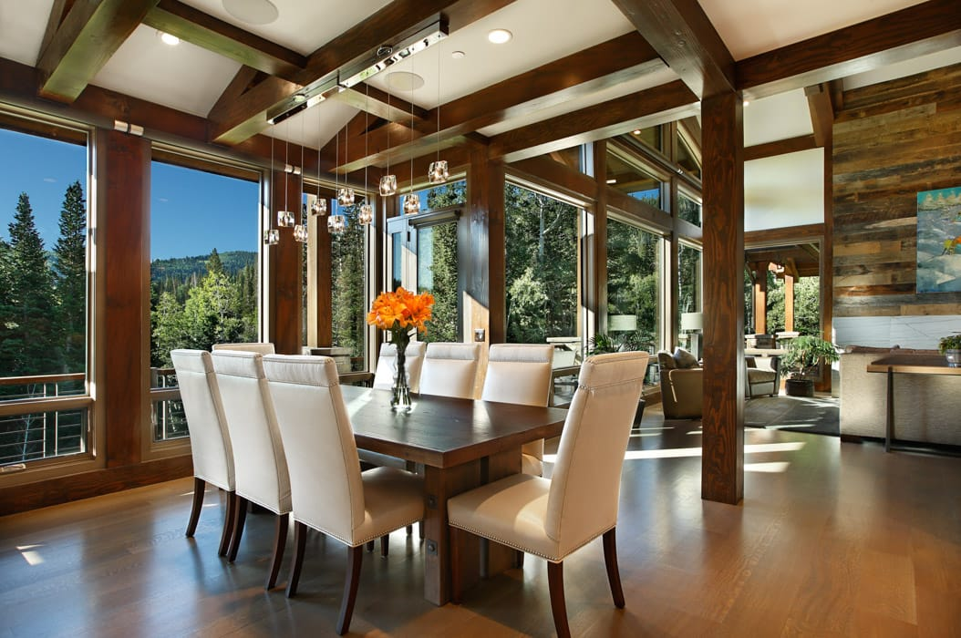 Park City Residence   Utah Modern Timber Frame Home Modern timber home Dining room
