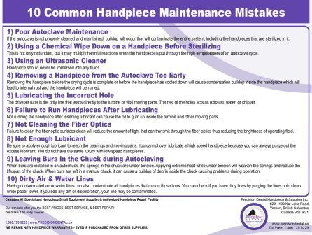 10 Common Handpiece Maintenance Mistakes