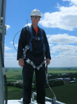 Harnessed on top of Wind Turbine Tower