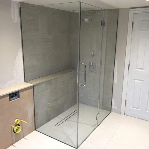 Notched Framless Shower Enclosure