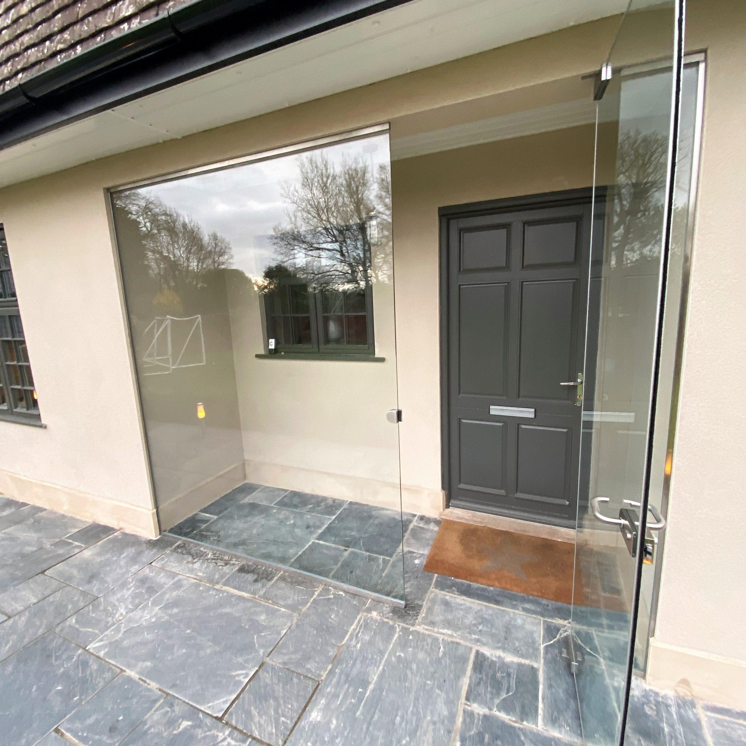 Frameless Glass Entrance Porch Reigate