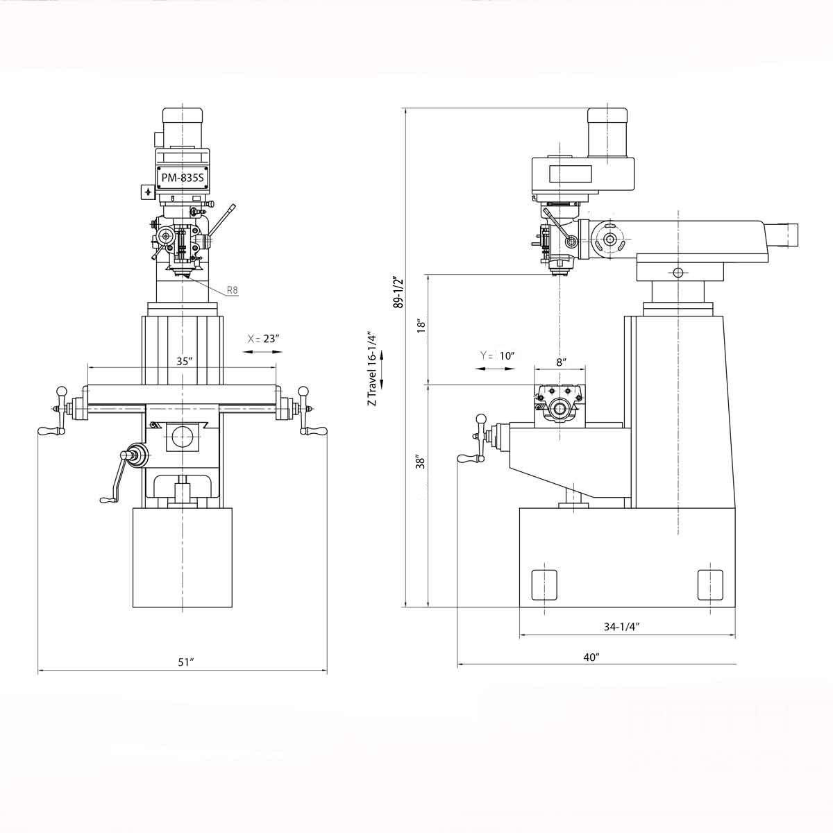 New Pm 835s Milling Machine