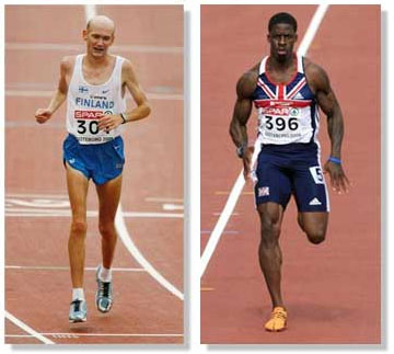 Marathoner (left) vs sprinter (right)