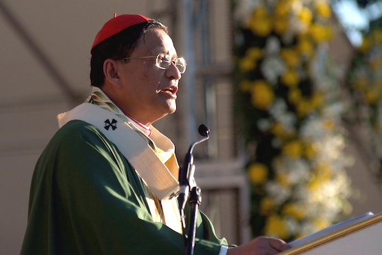 Cardinal Charles Maung Bo, of Myanmar, papal legate to the IEC 2016, delvers the homily at the openiing mass of the IEC 2016 at the Plaza Independencia in Cebu City, Jan. 24, 2016.