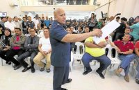 "DRESSING DOWN Local government officials and policemen linked by President Duterte to the illegal drug trade get a dressing down from PNP chief Ronald ""Bato"" dela Rosa in Camp Crame, Quezon City. NIÑO JESUS ORBETA"