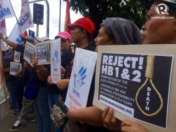 NO TO 'KILL BILL'. Human rights advocates oppose the passage of the measure seeking to restore capital punishment in the country. Photo by Patty Pasion/Rappler