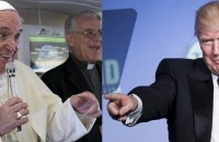 Pope Francis (left) says he will talk first to US President Donald Trump (right) before making any judgment about him. INQUIRER FILES
