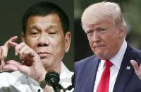 US president Donald Trump, right, has praised his Philippine counterpart, Rodrigo Duterte, left, for his 'war on drugs' that has left thousands dead. Photograph: Eugene Hoshiko, Pablo Martinez M/AP