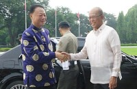 CAMP AGUINALDO VISIT. Chinese Ambassador to the Philippines Zhao Jianhua is in Camp Aguinaldo on October 5 to hand over Chinese assault rifles