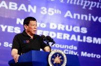DECLINE. President Rodrigo Duterte's net satisfaction rating drops by 18 points in the September 2017 survey of the Social Weather Stations. His net trust rating also declines by 15 points. Malacañang file photo