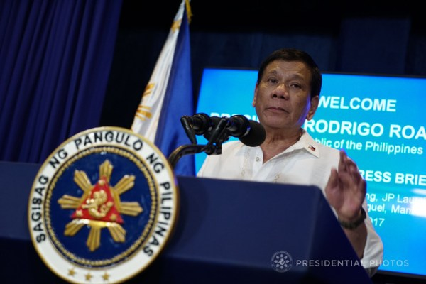 TIRADE VS EU. President Rodrigo Duterte delivers a speech during the relaunching of the Malacañang Press Briefing Room at the New Executive Building on October 12, 2017. Malacañang photo