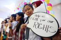 THEIR DAY Children call on legislators to protect their rights and respond to their needs during the commemoration of World Children's Day at the Museo Pambata in Manila on Thursday. PHOTO BY RUSSEL PALMA