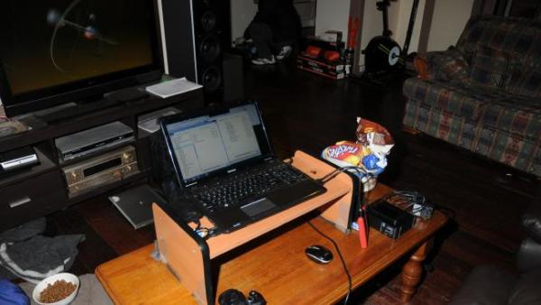 McCoole's laptop and desk at his home.