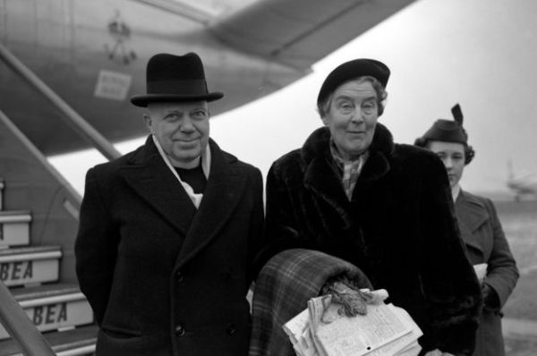 George Bell with wife Henrietta at London airport, about to leave for Frankfurt in 1954